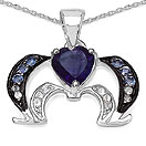 """Mother's Day Special: 0.86CTW Genuine Amethyst, Tanzanite & White Topaz .925 Sterling Silver Pendant"""