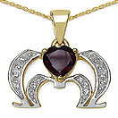 Mother's Day Special: 1.10CTW Genuine Garnet & White Topaz .925 Sterling Silver 14K Yellow Gold Plated Pendant