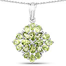 3.40CTW Genuine Peridot .925 Sterling Silver Floral Shape Pendant