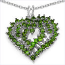 1.86CTW Chrome Diopside .925 Sterling Silver Heart Shape Pendant