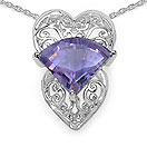 7.80CTW Fancy Shape Genuine Amethyst .925 Sterling Silver Heart Shape Pendant