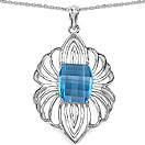 9.42CTW Genuine Swiss Blue Topaz .925 Sterling Silver Pendant