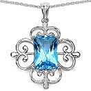 11.20CTW Genuine Swiss Blue Topaz .925 Sterling Silver Pendant