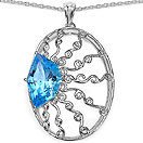 10.31CTW Genuine Swiss Blue Topaz .925 Sterling Silver Pendant