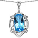 10.54CTW Genuine Swiss Blue Topaz .925 Sterling Silver Pendant