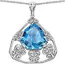 11.11CTW Genuine Swiss Blue Topaz .925 Sterling Silver Pendant