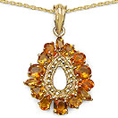 3.38CTW Genuine Citrine 14K Yellow Gold Plated .925 Sterling Silver Pendant