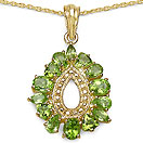 3.38CTW Genuine Peridot 14K Yellow Gold Plated .925 Sterling Silver Pendant