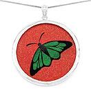GEMARTINI Compressed Emerald & Ruby Gemstone Butterfly Pendant