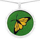 GEMARTINI Compressed Citrine & Emerald Gemstone Butterfly Pendant