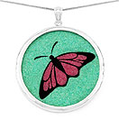 GEMARTINI Compressed Ruby & Lapis Gemstone Butterfly Pendant