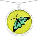 GEMARTINI Compressed Lapis & Citrine Gemstone Butterfly Pendant