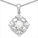 0.59CTW Genuine Opal .925 Sterling Silver Pendant