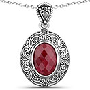 7.00CTW Dyed Ruby .925 Sterling Silver Pendant