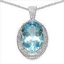 14.65CTW Genuine Blue & White Topaz .925 Sterling Silver Pendant