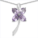 3.40CTW Genuine Amethyst .925 Sterling Silver Pendant