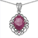 8.85CTW Dyed Ruby & Rhodolite .925 Sterling Silver Pendant