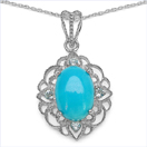 5.35CTW Turquoise & Blue Topaz .925 Sterling Silver Pendant
