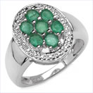 1.60CTW Genuine Emerald & Diamond.925 Sterling Silver Ring