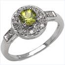 0.59CTW Genuine Peridot & Diamond .925 Sterling Silver Ring