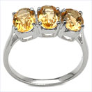 2.55CTW Genuine Citrine 3-Stone .925 Sterling Silver Ring