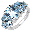 5.65CTW Genuine Blue Topaz .925 Sterling Silver Ring