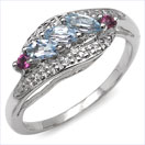 0.68CTW Genuine Blue Topaz & Rhodolite .925 Sterling Silver Ring