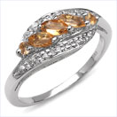 0.55CTW Genuine Citrine Marquise & Rounds .925 Sterling Silver Ring