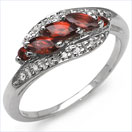0.78CTW Natural Garnet .925 Sterling Silver Ring