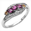0.55CTW Genuine Rhodolite & Citrine .925 Sterling Silver Ring