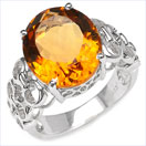 6.20CTW Genuine Citrine .925 Sterling Silver Ring