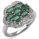 2.01CTW Genuine Emerald & Diamond .925 Sterling Silver Ring
