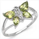 1.28CTW Genuine Peridot & Diamond Butterfly Shape .925 Sterling Silver Ring