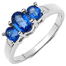 1.25CTW Genuine Kyanite & White Diamond .925 Sterling Silver Ring