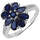 1.33CTW Genuine Iolite & White Topaz .925 Sterling Silver Ring