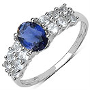 1.37CTW Genuine Iolite & White Topaz .925 Sterling Silver Ring