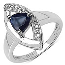 0.83CTW Genuine Blue Sapphire & White Diamond .925 Sterling Silver Trillion Shape Ring