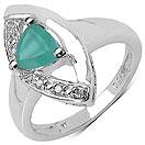 0.73CTW Genuine Emerald & White Diamond .925 Sterling Silver Trillion Shape Ring