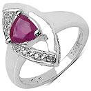 0.83CTW Genuine Ruby & White Diamond .925 Sterling Silver Trillion Shape Ring