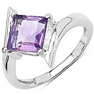 1.50CTW Genuine Amethyst .925 Sterling Silver Solitaire Ring