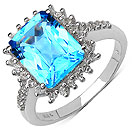 4.42CTW Genuine Swiss Blue Topaz & White Topaz .925 Sterling Silver Ring