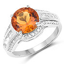 2.81CTW Genuine Citrine & White Topaz .925 Sterling Silver Solitaire Ring