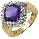3.35CTW Genuine Amethyst & White Topaz 14K Yellow Gold Plated .925 Sterling Silver Ring