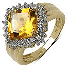 3.66CTW Genuine Citrine & White Topaz 14K Yellow Gold Plated .925 Sterling Silver Ring