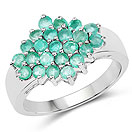 1.61CTW Genuine Zambian Emerald .925 Sterling Silver Cluster Ring