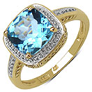 2.50CTW Genuine Blue Topaz 14K Yellow Gold Plated .925 Sterling Silver Ring