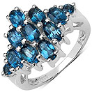 2.60CTW Genuine Blue Topaz .925 Sterling Silver Ring