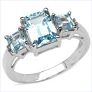3.52CTW Blue Topaz & Diamond .925 Sterling Silver Ring