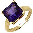 4.62CTW Genuine Amethyst 14K Yellow Gold Plated .925 Sterling Silver Ring