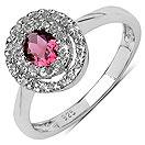 0.53CTW Genuine Pink Tourmaline & White Topaz .925 Sterling Silver Ring